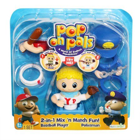 Pop On Pals Figures, Baseball Player and Policeman, Multicolor