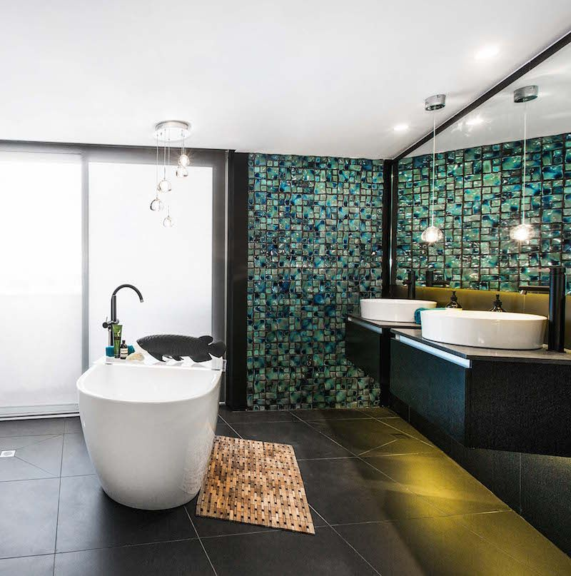 shay and vonnis master bathroom featuring the misled blue mosaic and touchstone nero textured tiles - Mosaic Tile House 2015