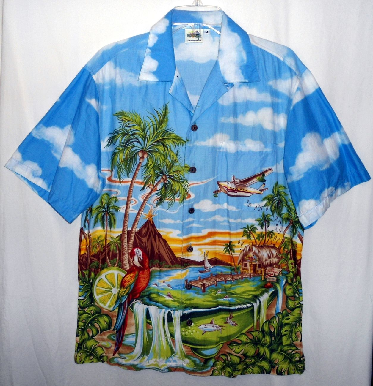 caebcecd Jimmy Buffett's Margaritaville * MENS Medium HAWAIIAN CAMP SHIRT *  PARROTHEAD