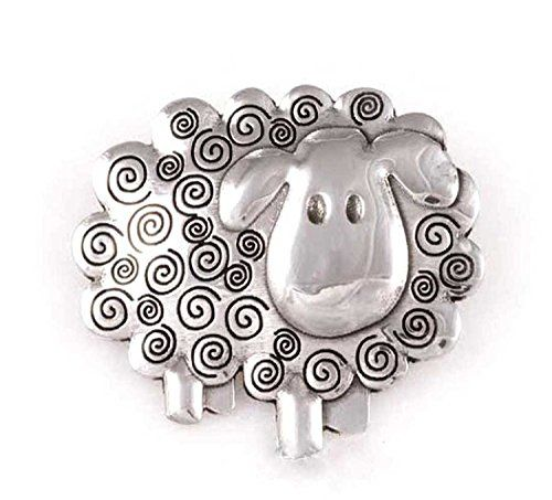 A Cute Pewter Sheep Brooch. Secures To Garment By Way Of A Pin With  Locking, Safety Catch.