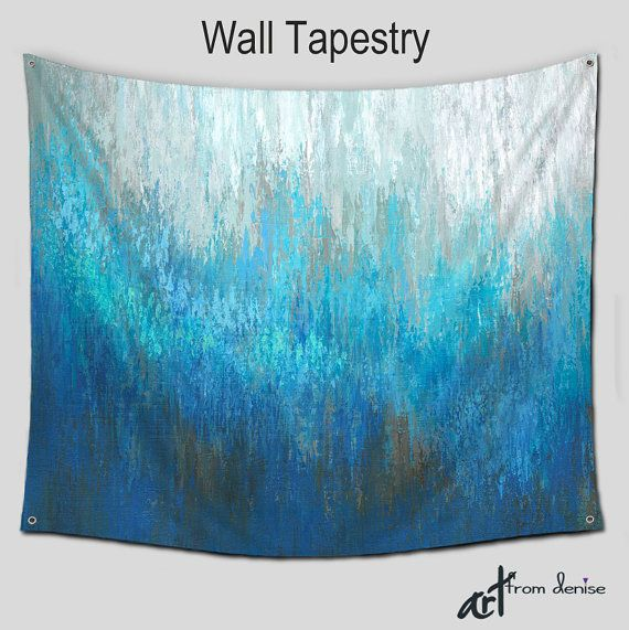 Turquoise Teal Wall Tapestry Hanging Abstract Art