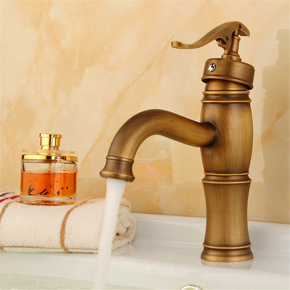 Antique brass bathroom sink faucets hot u cold body copper european