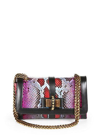 Christian Louboutin - Sweet Charity Small Python & Leather Shoulder Bag - Saks.com