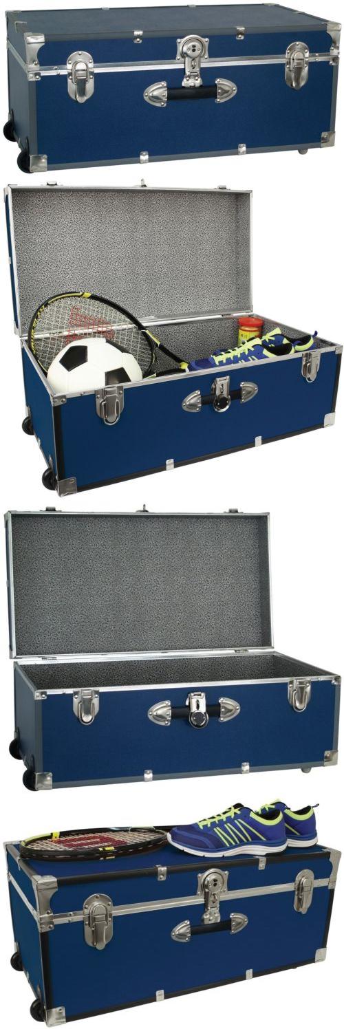 Trunks And Chests 125085: Footlocker Storage Trunk W Wheels   30In College  Dorm Locking Blue