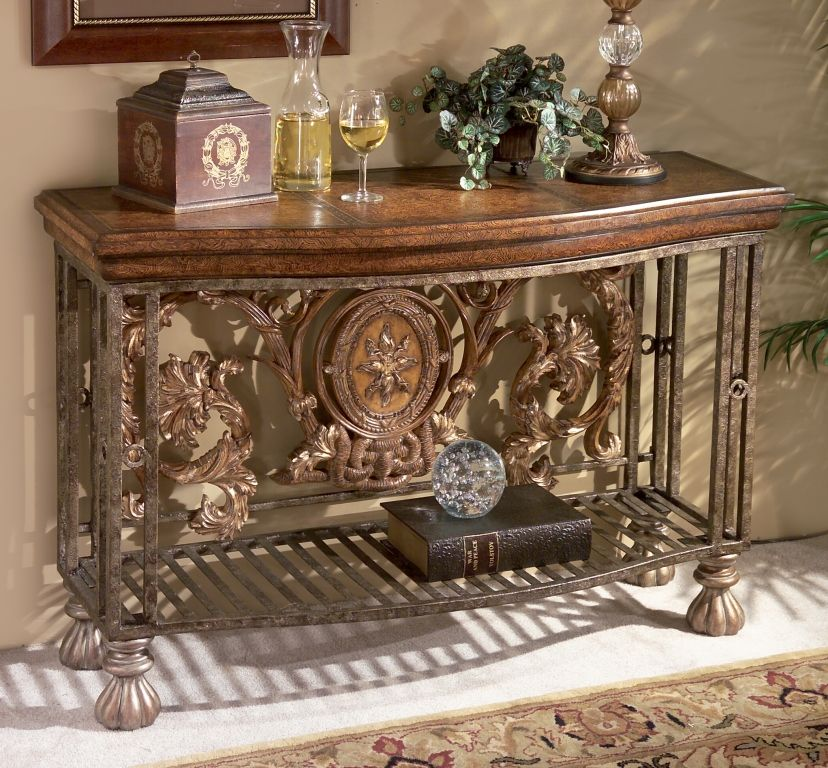 Tuscan tuscany old world decor iron scroll entry hall for Old world home decor