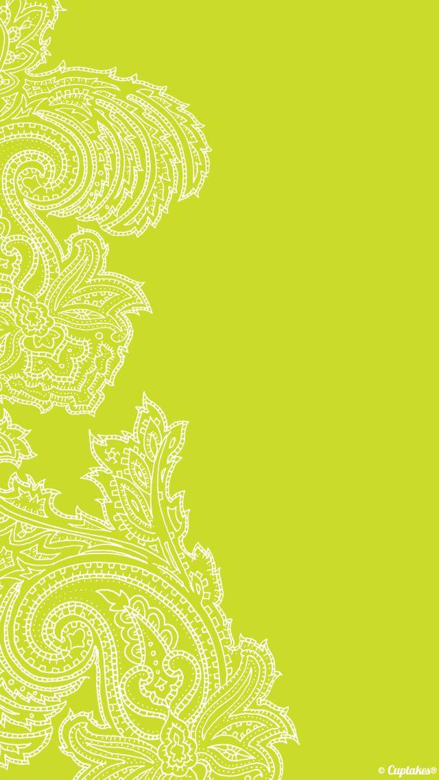 Yellow Lime Paisley Iphone Background Phone Wallpaper Lockscreen Green