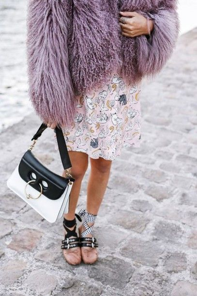 88af5f27721 Coat  tumblr fuzzy violet lilac bag black and white j w anderson ballet  flats flats miu miu dress