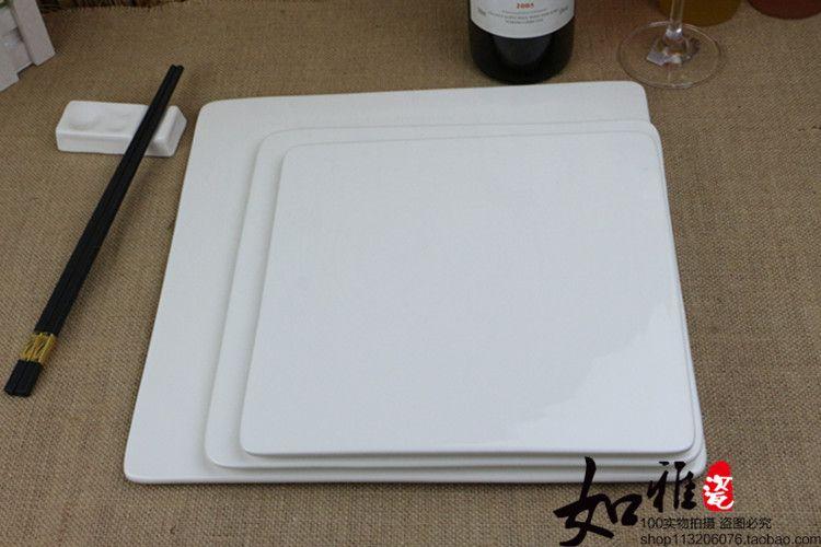 ¥43.80  ---  35cm (14inch) square plate --- 蛋糕盘陶瓷西餐盘牛排盘子长方平板甜品盘正方平盘寿司盘圆形包邮-淘宝网