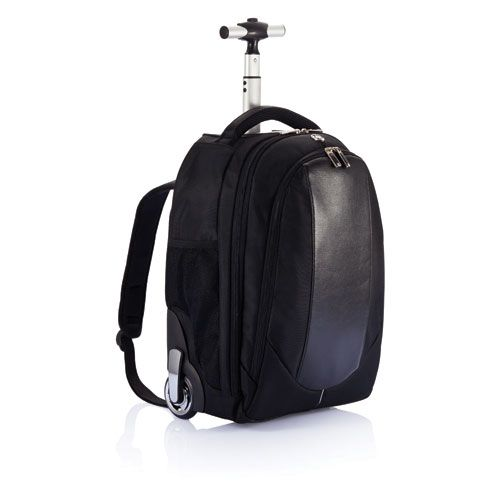 Swiss Peak backpack trolley. Form and Functionality. This backpack trolley combines high  quality functionalty with designer looks. From trolley handle  to wheels, this bag catches the eye. Registered design®