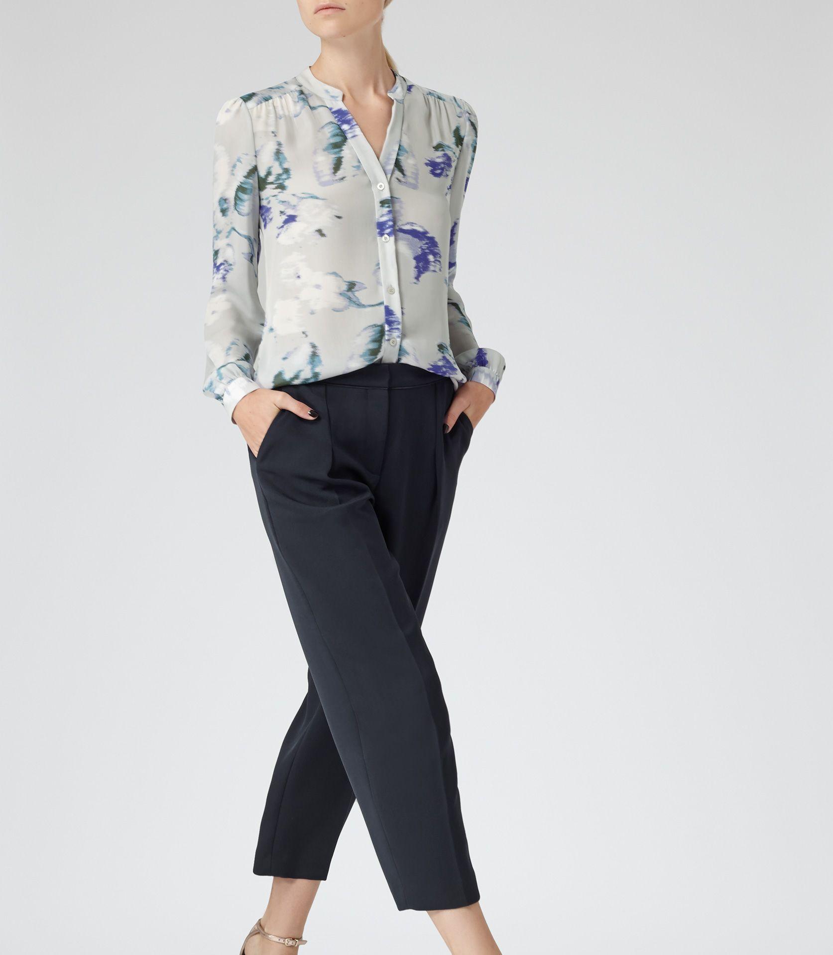 3fc61b567e795 Womens Pansey Print Silk Blurred Bloom Blouse - Reiss Delores ...
