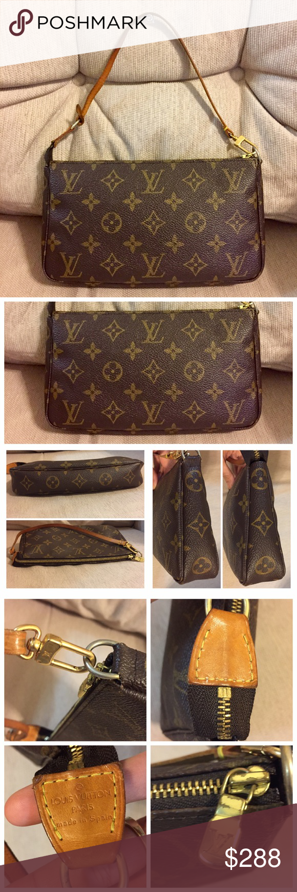 100 Authentic Mini Louis Vuitton Made In France Has No Date >> Louis Vuitton Pochette Accessoires 100 Authentic Made In