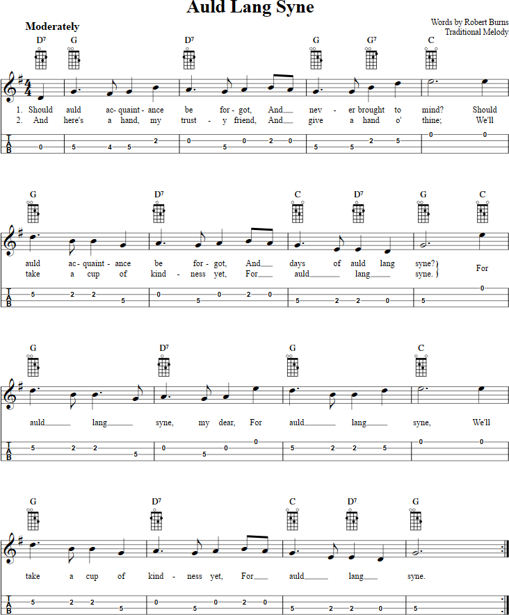Auld Lang Syne Mandolin Tab | Mandolin | Pinterest | Mandolin ...