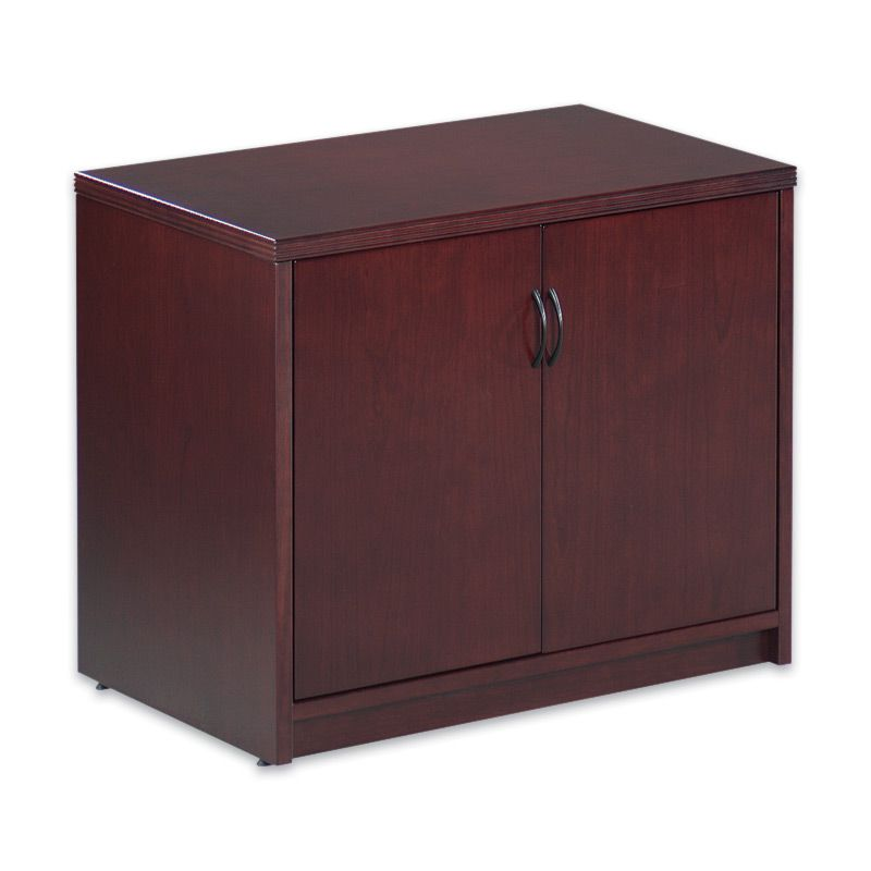 Pacific Coast Wood Series Double Door Storage Cabinet in Cherry and Espresso - Pacific Coast Wood Series Double Door Storage Cabinet In Cherry