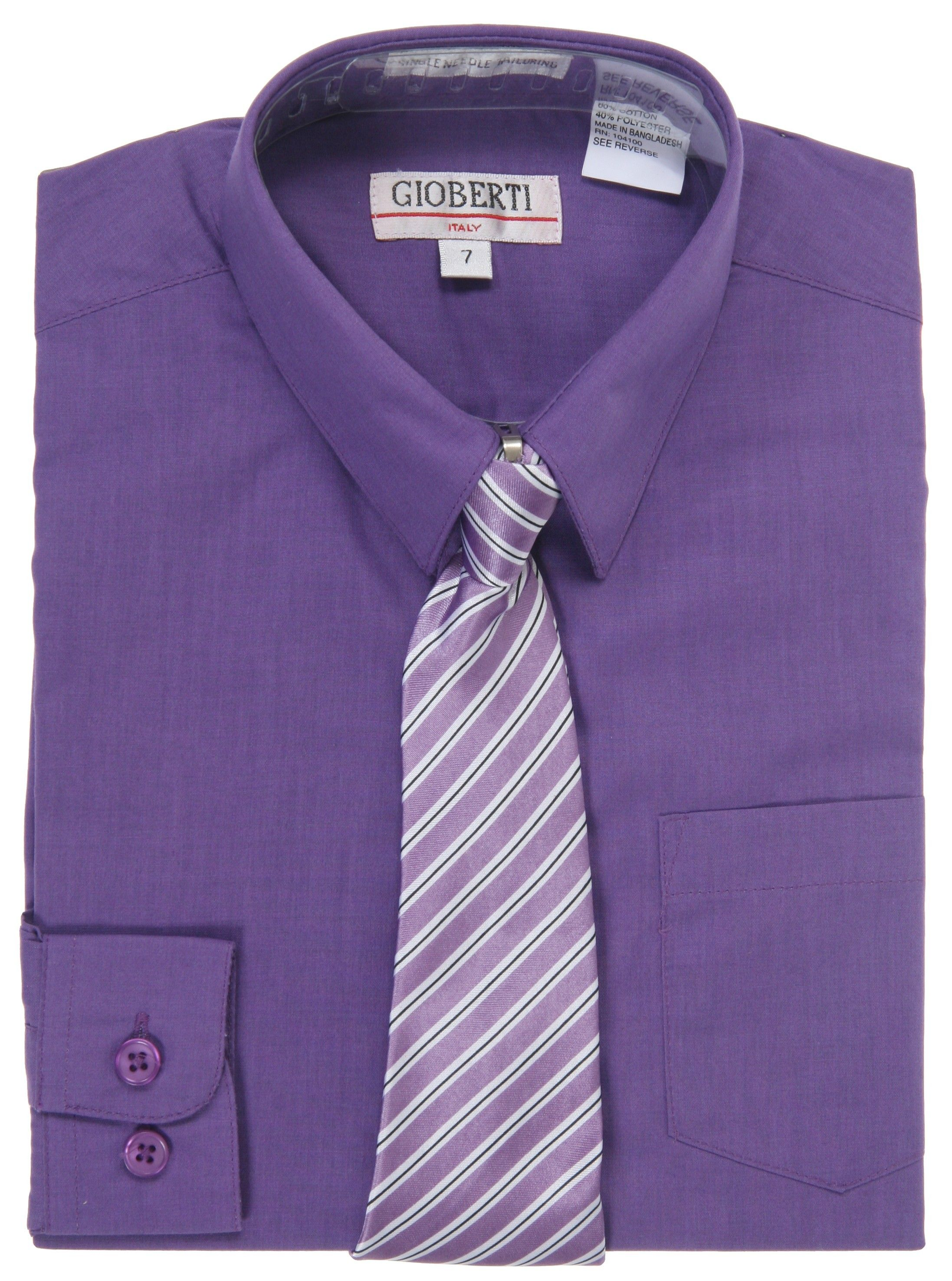 Purple Long Sleeve Boys Dress Shirt With Tie Men Style