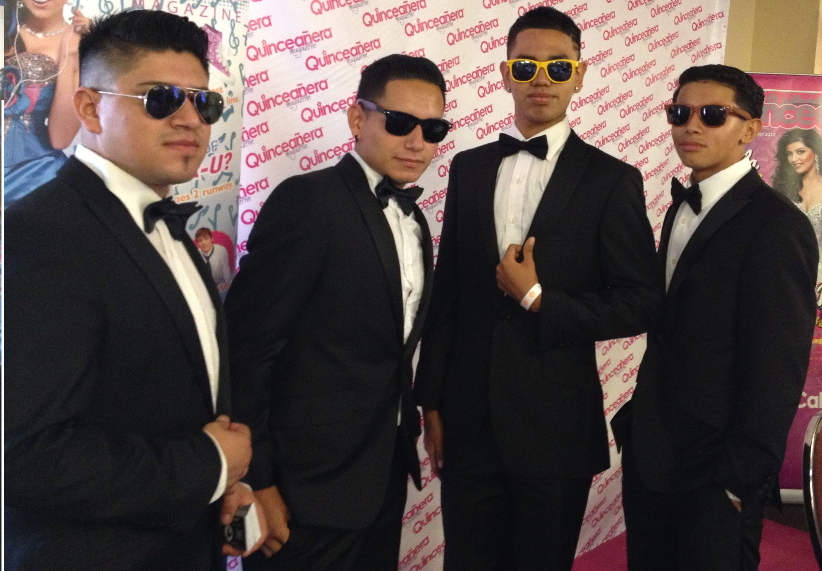 Chambelanes looking cool with sunglasses on at this ... Quinceanera Chambelanes Tuxedos With Blue