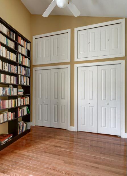 storage above closets. wall of closets. bifold closet doors cut