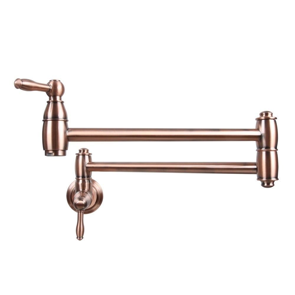 Wall Mounted Kitchen Sink Tap Folding Stretchable Pot Filler Faucet Brown Bronze