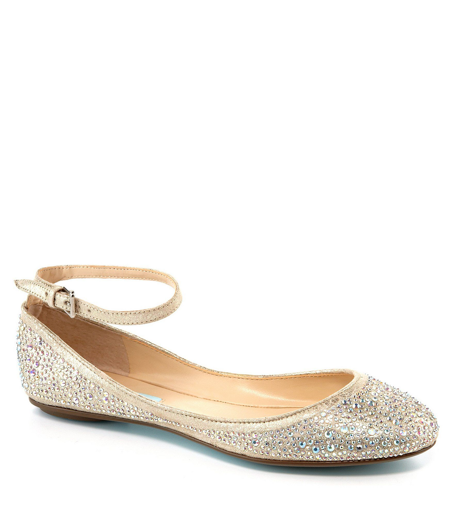 51ebdd8cc70f 99 Shop for Blue by Betsey Johnson Joy Jeweled Ankle-Strap Flats at  Dillards.