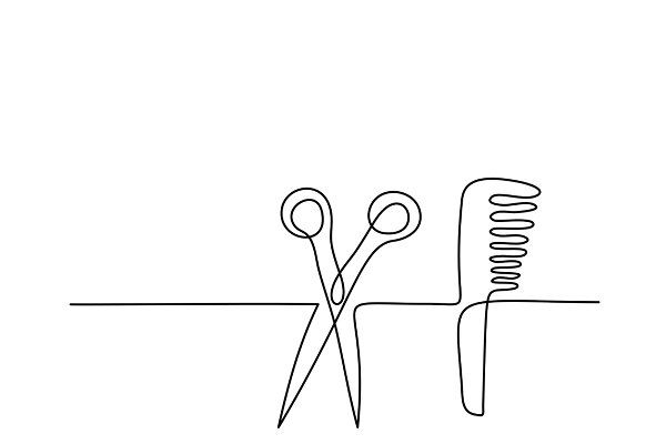 Hairbrush And Scissors Icon Hair Salon Logos Line Art Drawings Icon