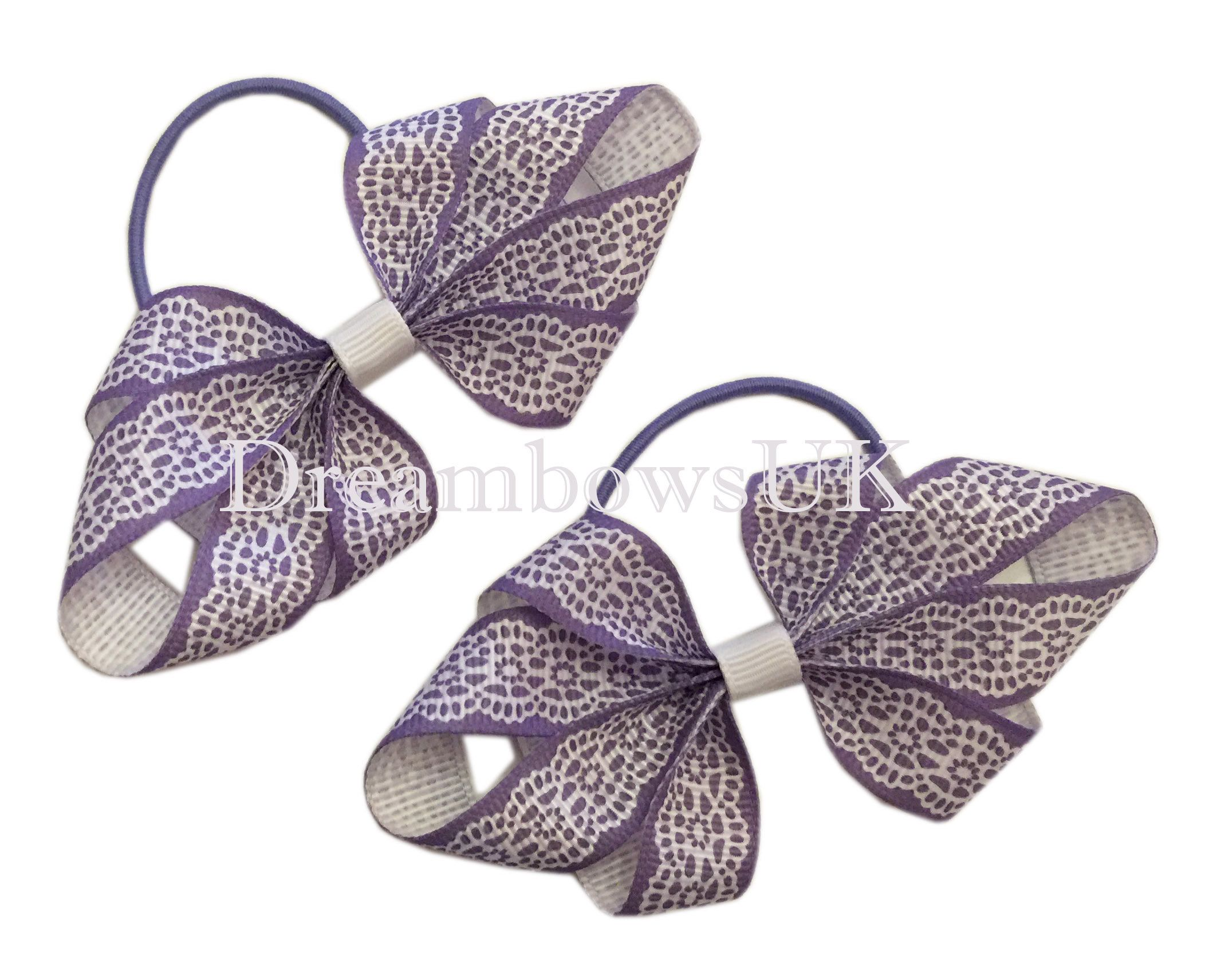 Lilac and white novelty hair bows 151113dd251