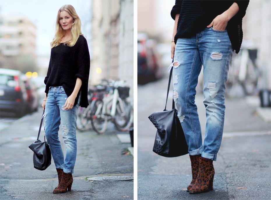 BF Jeans / boyfriend jeans / Black sweater / slouchy sweater / Black knit / leopard boots ...