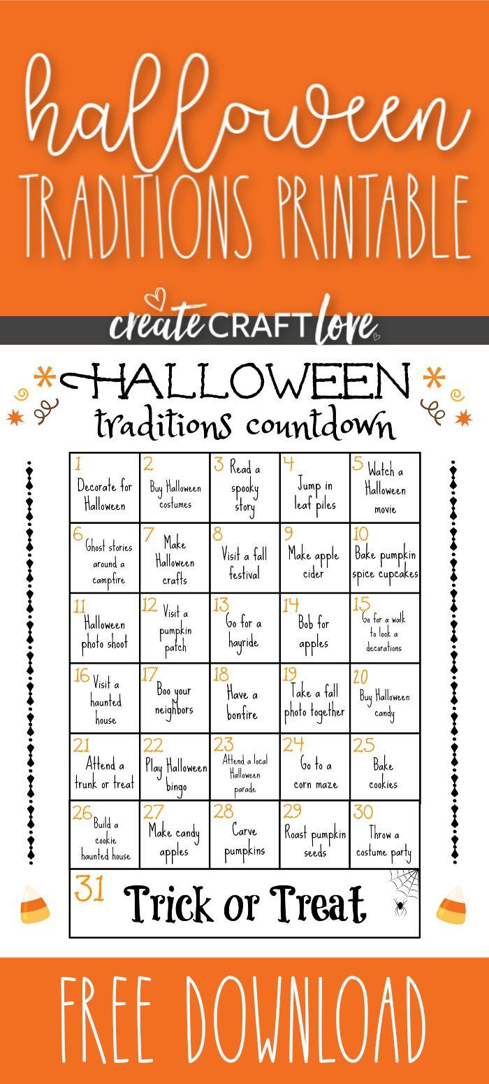 Halloween Traditions Printable Halloween traditions