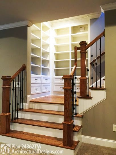 Book shelves at stairs