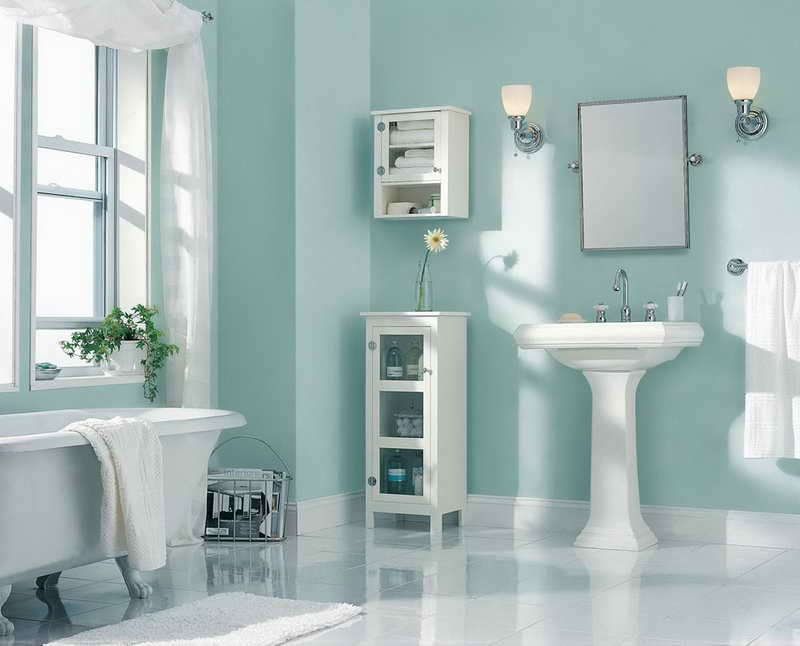 Awesome Bathroom Wall Colors Ideas Part - 9: How To Choose Popular Paint Colors For 2014: Paint Color Ideas With Bathroom  Wall Shelves