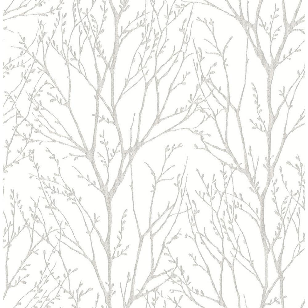 Nuwallpaper 30 75 Sq Ft Treetops Peel And Stick Wallpaper White Silver Tree Wallpaper Farmhouse Wallpaper Silver Wallpaper