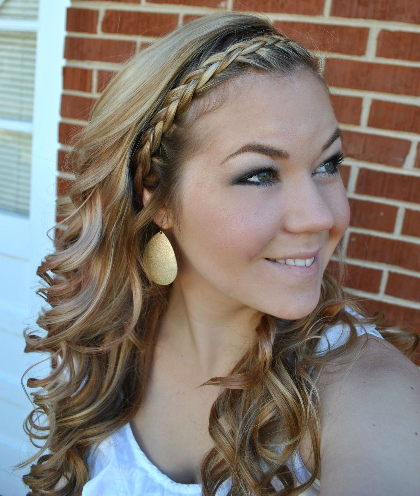 2019 year for girls- Braid French headband with curls pictures