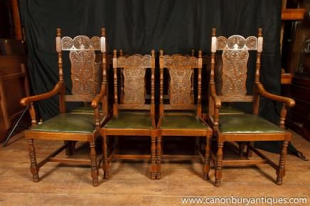 Set 8 Antique William and Mary Carved Dining Chairs Oak Kitchen Chair - Set 8 Antique William And Mary Carved Dining Chairs Oak Kitchen