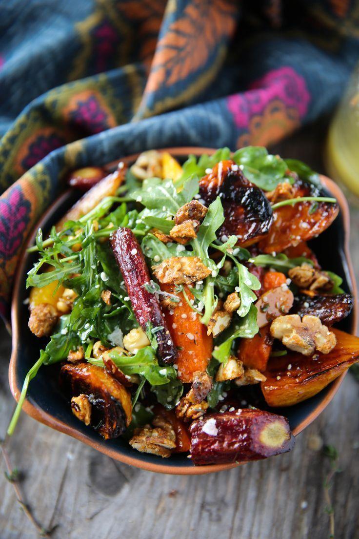 Gebratener Rüben-Karotten-Salat mit Honig-Thymian-Vinaigrette -