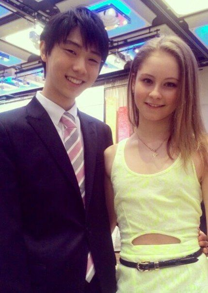 Yuzru Hanyu with Julia Lipnitskaia - Worlds 2014 Banquet