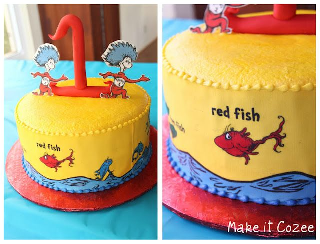Dr Suess Birthday Party One Fish Two Fish Red Fish Blue Fish Cake