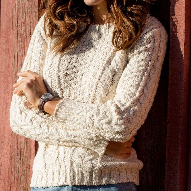 Womens Deep River Slub Cotton Cable Knit Sweater Guideboat