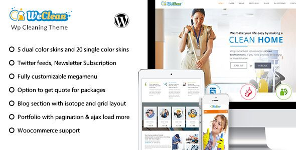We Clean v1.8 Cleaning Business WordPress Theme Blogger Template ...