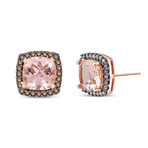 Zales 1/3 CT. T.w. Champagne and White Diamond Cluster Heart Stud Earrings in 10K Rose Gold gqZiF9