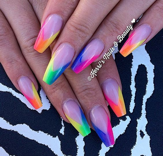 Long Nails Acrylic In 2020 Pretty Acrylic Nails Neon Nails Rainbow Nails