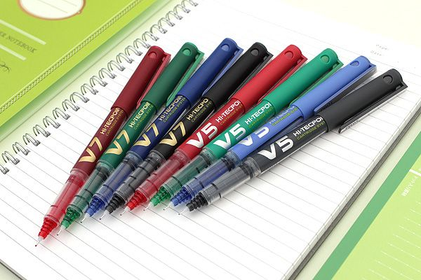 Pilot V5 Hi-Tecpoint Cartridge System EF Refillable Pen BLUE Ink 3 Refills