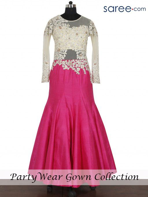 PEACH AND CREAM RAW SILK GOWN WITH RESHAM WORK | indian fashion ...