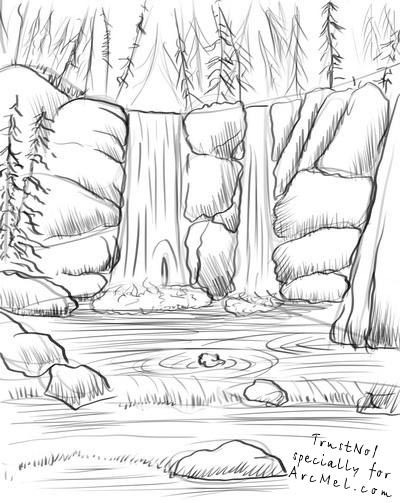 How To Draw A Waterfall Step By Step Waterfall Drawing Nature Drawing Landscape Drawings
