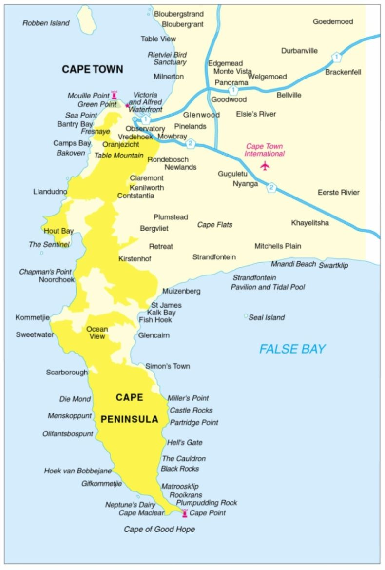 Map of the Cape Peninsula in Cape Town South Africa Things 2 do