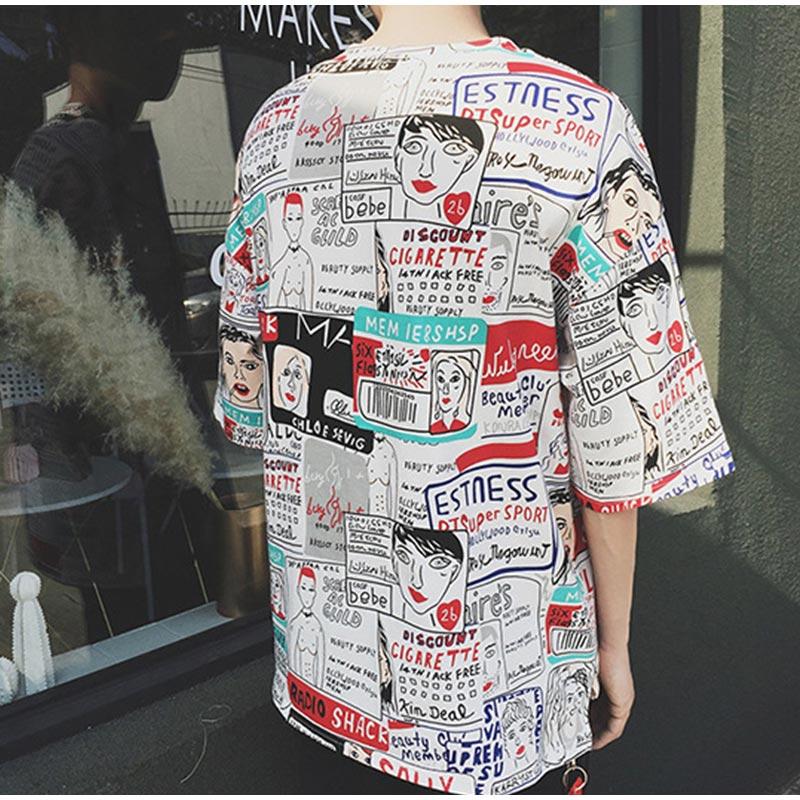 Hip hop Graffiti Street Men T-shirt Short Sleeve Unisex Casual Tops Summer Tee