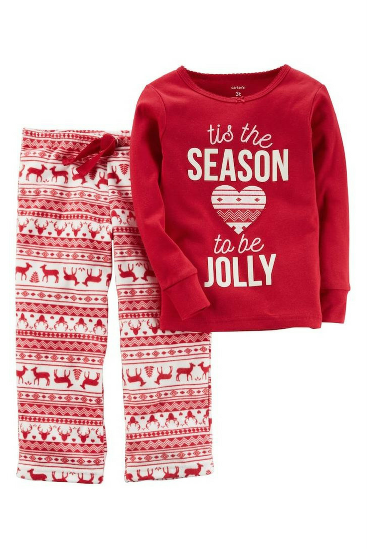 a990fefa834d Girls Tis the Season to be Jolly Christmas top and fleece pajama ...