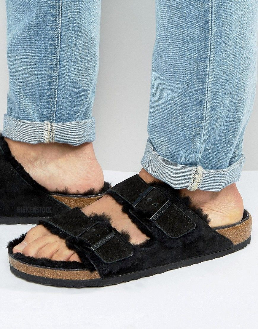 BIRKENSTOCK S ARIZONA SUEDE SHEARLING SLIPPERS - BLACK.  birkenstock  shoes    3f06f4b7d02
