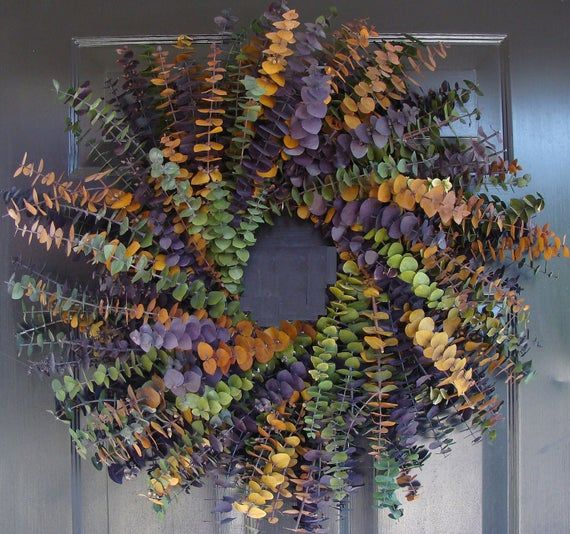 Photo of Year Round Eucalyptus Wreath- Purple Amber and Sage- Dried Floral Wreath- Eucaly…