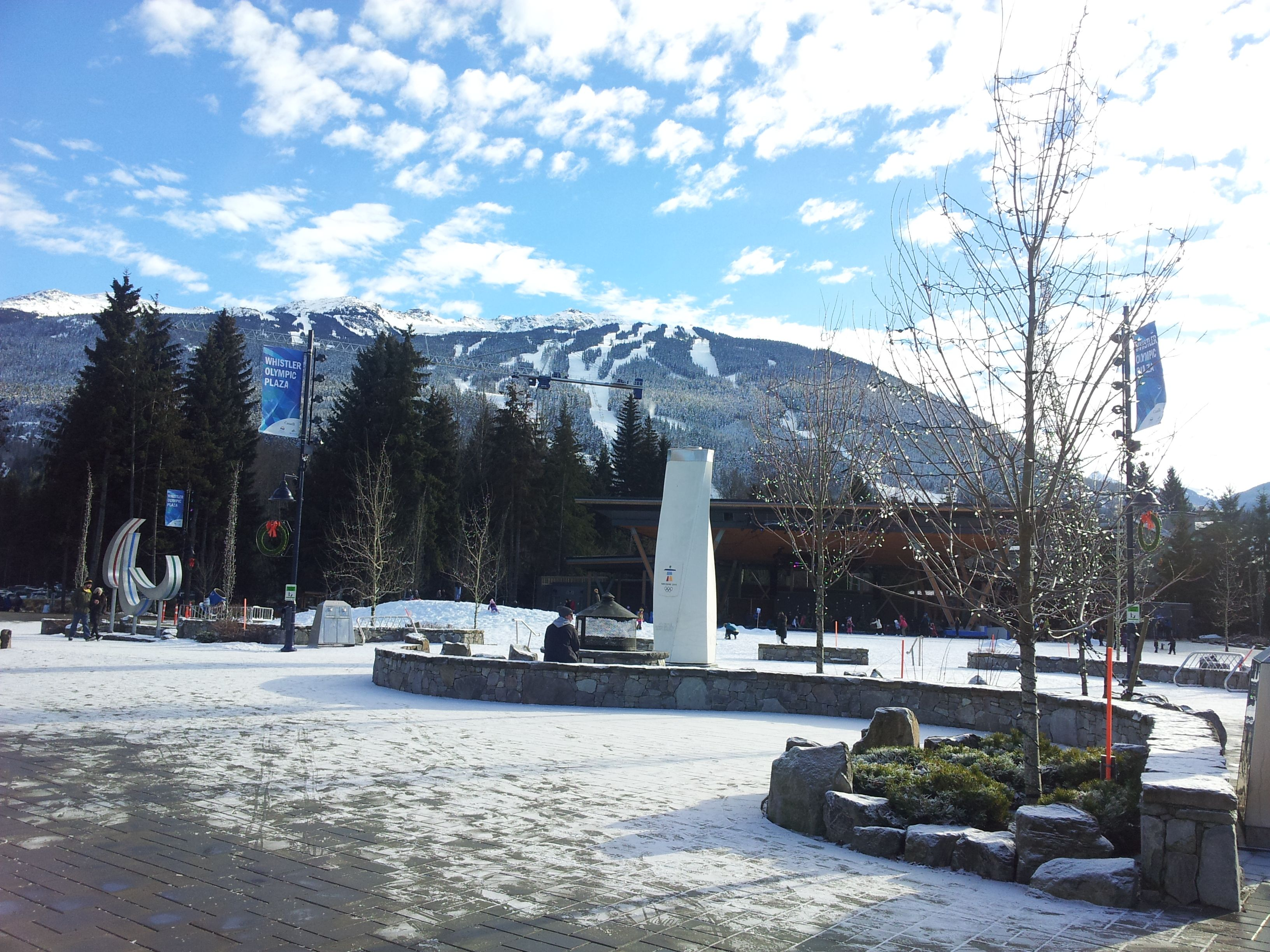 Outdoor winter skating rink in olympic plaza whistler