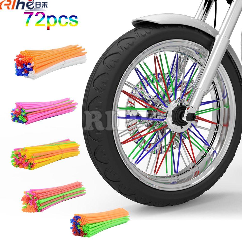 545320eaa6b46 Universal Mixed color Motorcycle Wheel Rim Spoke Skins Covers Wrap ...