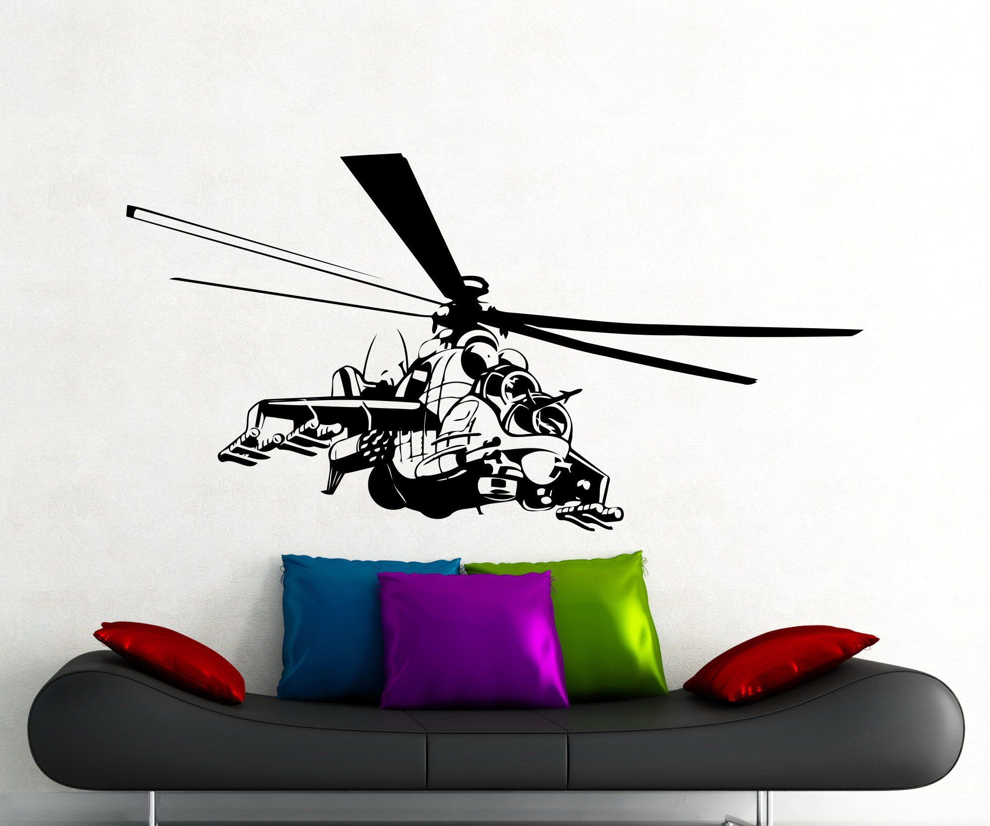 "Helicopter Wall Decal Aircraft Air Forces Military Copter Vinyl Sticker Home Nursery Kids Boy Girl Room Interior Art Decoration Any Room Mural Waterproof High Quality Vinyl Sticker (123xx). Awesome Stickers For ANY Exterior or Interior. EASY to Apply You Will get The instruction. REAL SIZES are from 22"" x 22"" to 22"" x 40"" it depends on the design and I will do the biggest one. Pick a color from a color chart and send a message after a purchase or the color showing on picture. will be…"