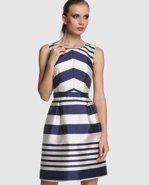 81b641e1f73 Vestido de mujer Fiesta El Corte Inglés con rayas en blanco y azul ...